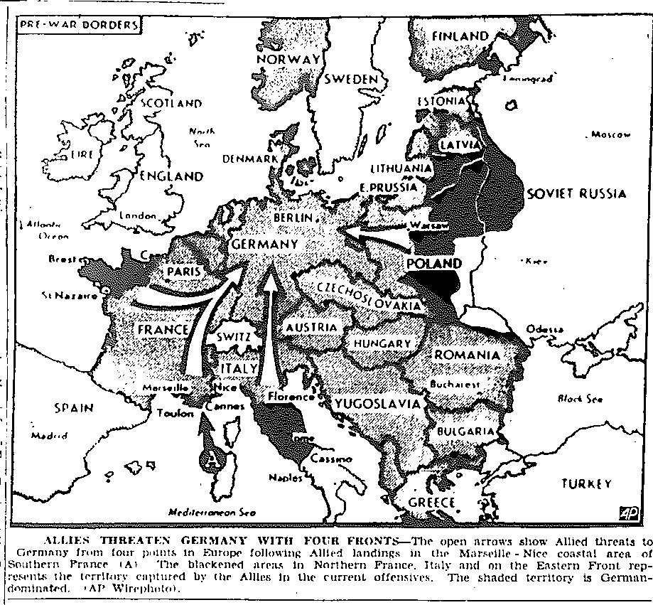 Map Of Four Pronged Approach To Invasion Of Germany From Western And Southern France Italy And Russia Published August 17 1944